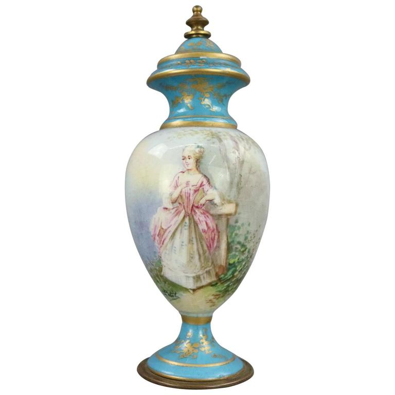 Antique Sevres Hand-Painted and Gilt Porcelain and Bronze Portrait Cabinet Urn