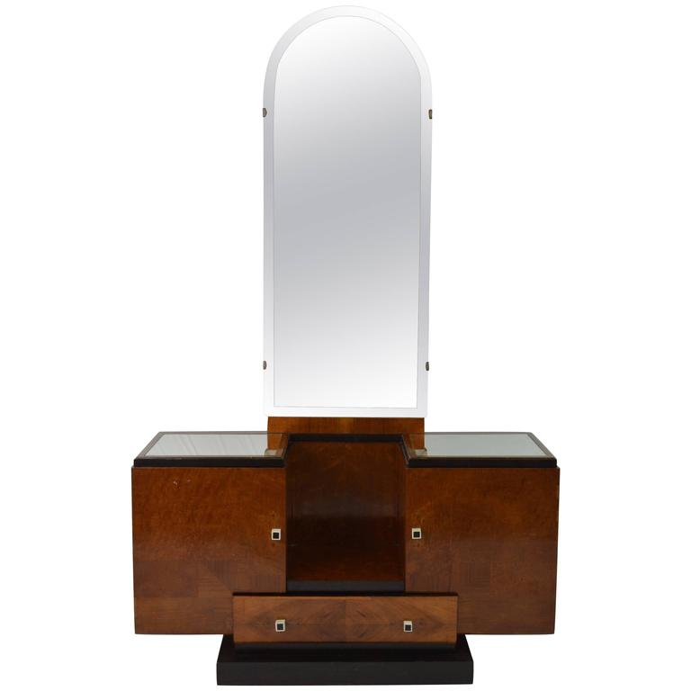 Art Deco Wood and Black details Vanity Table Mirror and Stool, France 1930s  For Sale