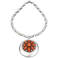Sterling Silver and Coral Pendant Necklace by Frank Patania Sr., circa 1970
