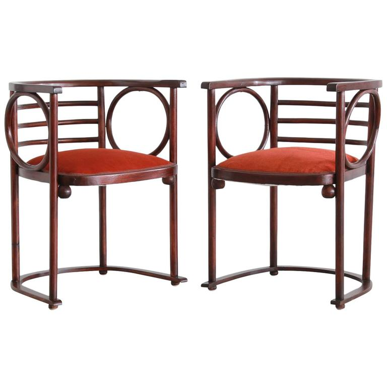 Josef Hoffman Pair of Fledermaus Chairs For Sale