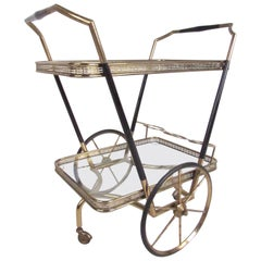 Vintage Modern Brass and Glass Bar Cart