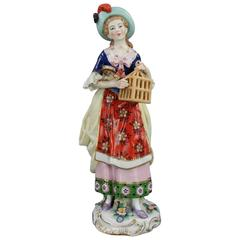 Antique English Chelsea Porcelain & Gilt Figurine of Woman with Bird, circa 1820