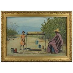 Antique Oil on Board Impressionistic Mexican Well Scene, S. Tarazona, circa 1920