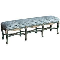 Regence Style Painted Bench, Eight Cabriole Legs with Stretchers
