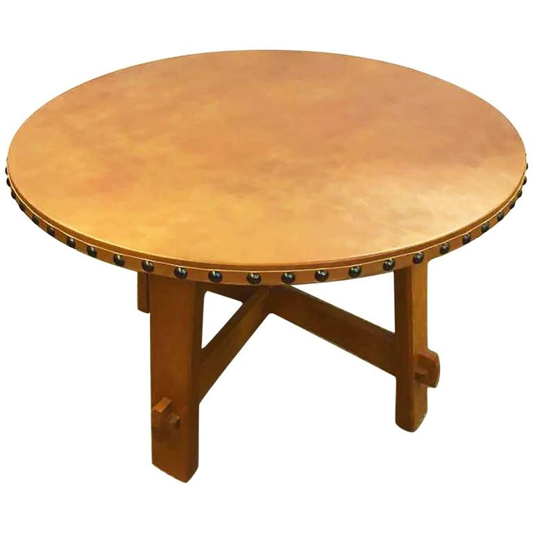 Stickley Commemorative Leather Topped Game Table At 1stdibs