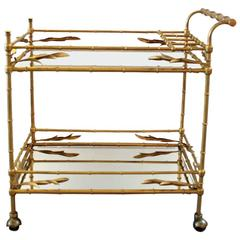Italian Gilt Metal and Glass Bar Beverage Cart