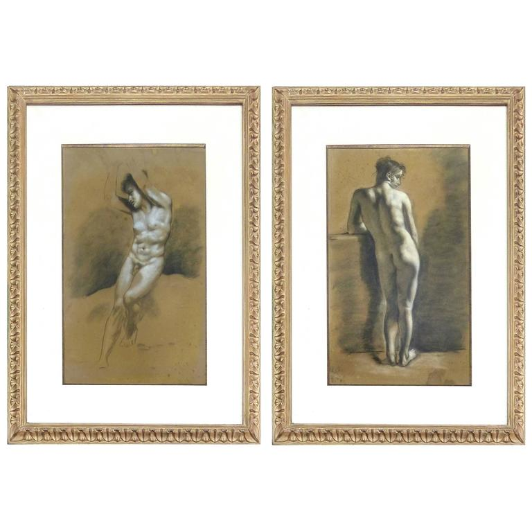 Pair of Drawings of Male Nude Figures attributed to Francois Boucher, circa 1750 For Sale