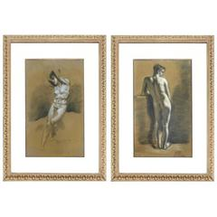 Pair of Drawings of Male Nude Figures attributed to Francois Boucher, circa 1750