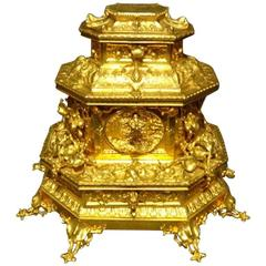 Outstanding French Gilt Bronze Table Jewellery Casket C.1850