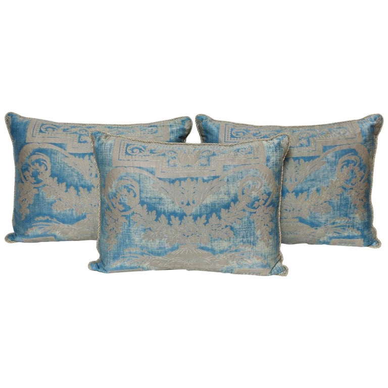 Set of Three Fortuny Fabric Cushions in a Neoclassical Pattern For Sale