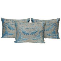 Set of Three Fortuny Fabric Cushions in a Neoclassical Pattern