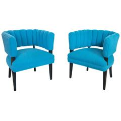 Hollywood Regency Club Chairs with Channel Tufting in Teal Boucle