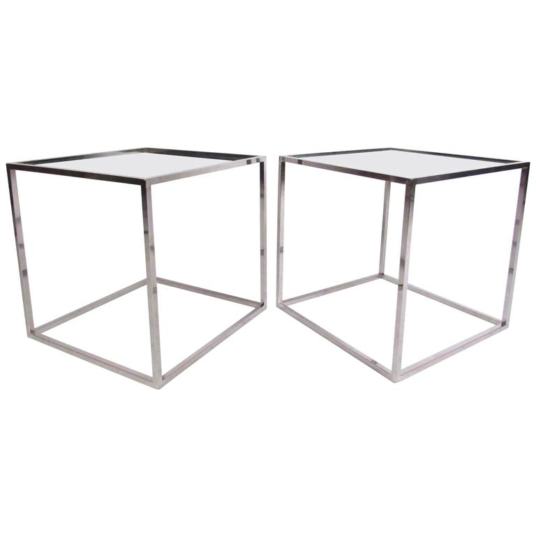 Pair Of Contemporary Modern Chrome Cube End Tables For Sale