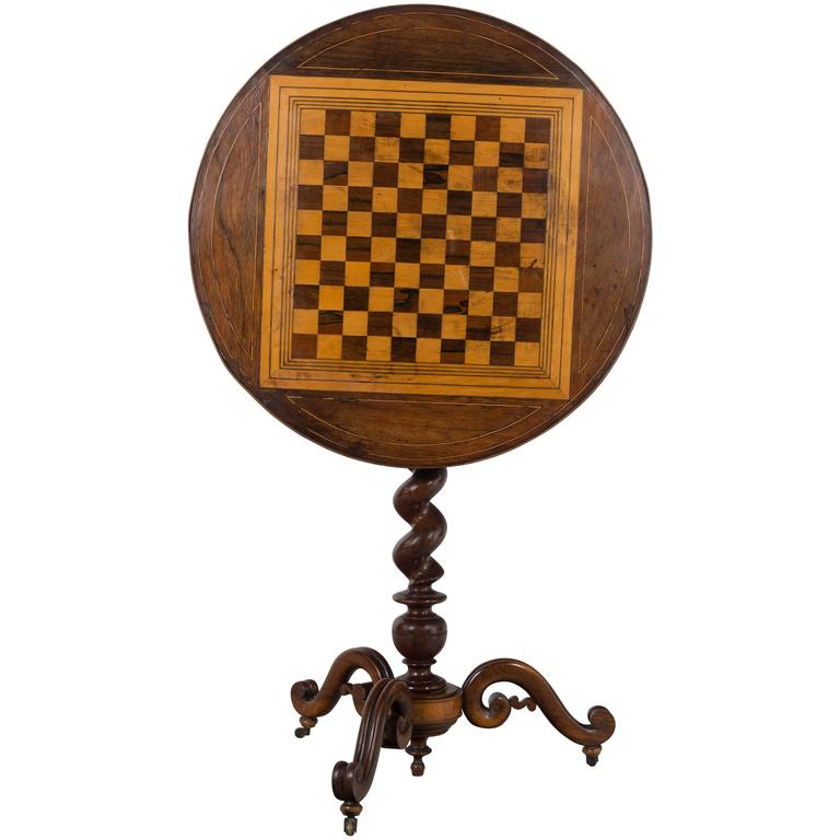 19th Century French Tilt-Top Game Table