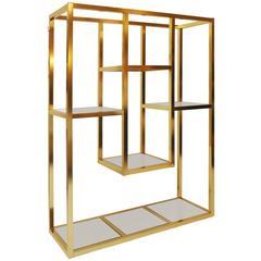 Brass and Mirrored Étagère