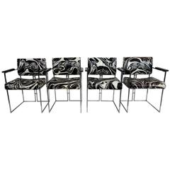 Set of Four Vintage Black and White Marbled Vinyl Chairs by Samton