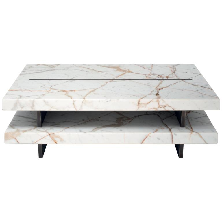 Coffee Table in Calacatta Gold Marble and Brass. Lim. Edition of 49 1