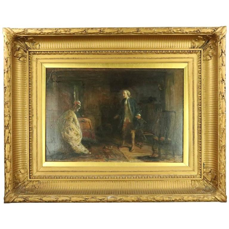 1800 S Colonial Scene On Demand: Antique Genre Oil On Canvas, Colonial Courting Scene, Deep Gilt Frame Circa 1880 At 1stdibs