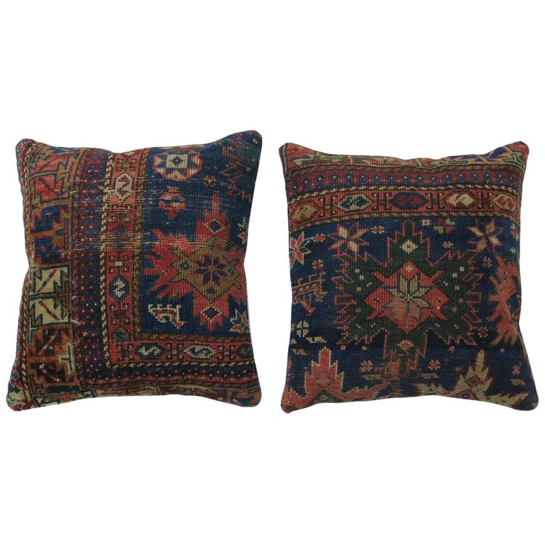 Pair of Caucasian Rug Pillows For Sale