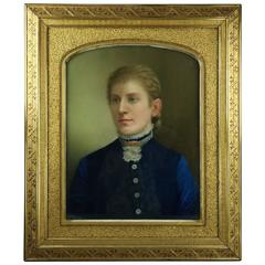 Antique Pastel Portrait of Nobleman Signed T. Gegoux 1881, Gilt Gesso Frame