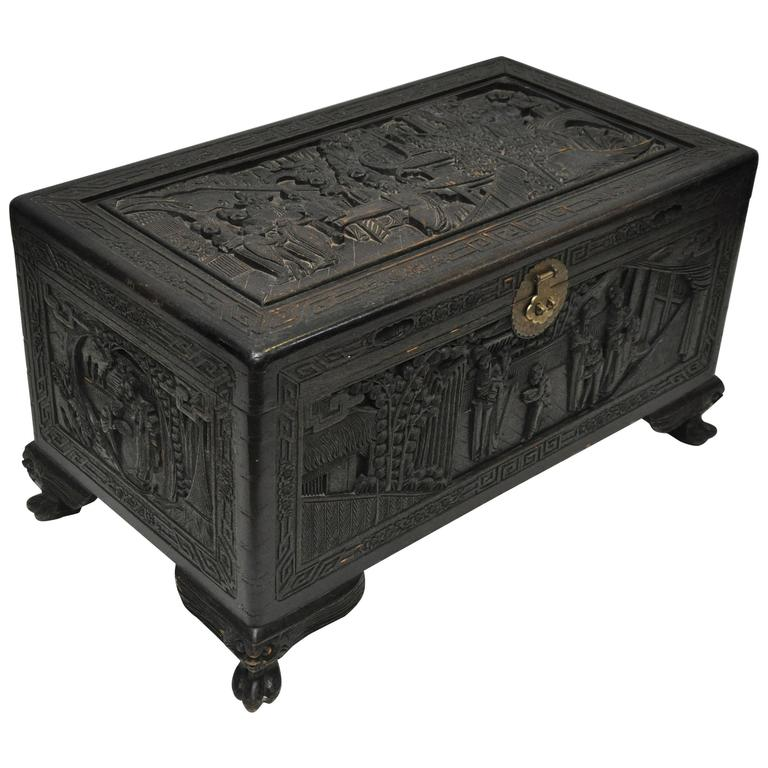 Wooden carved chinese trunk for sale at 1stdibs for Oriental wood carved furniture