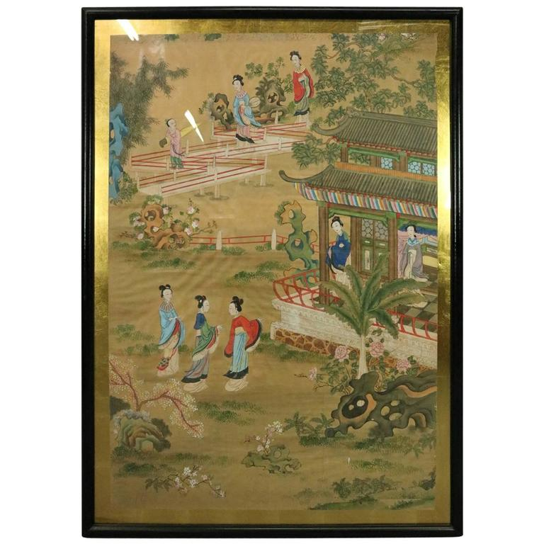 a36826e0848b0 Late 19th Century/early 20th century Antique Chinese Watercolor Painting  For Sale