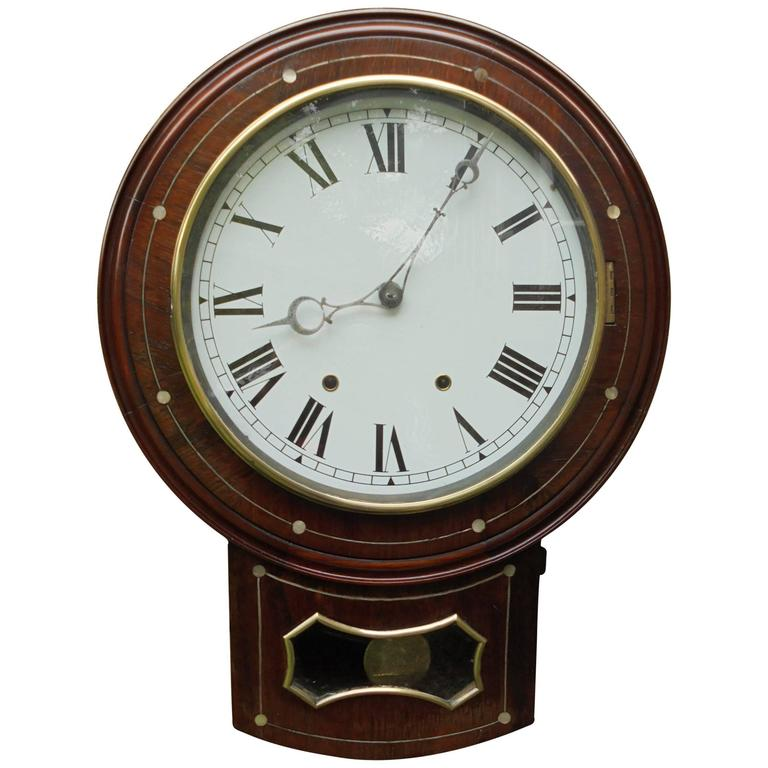antique inlaid rosewood drop dial wall clock for sale at