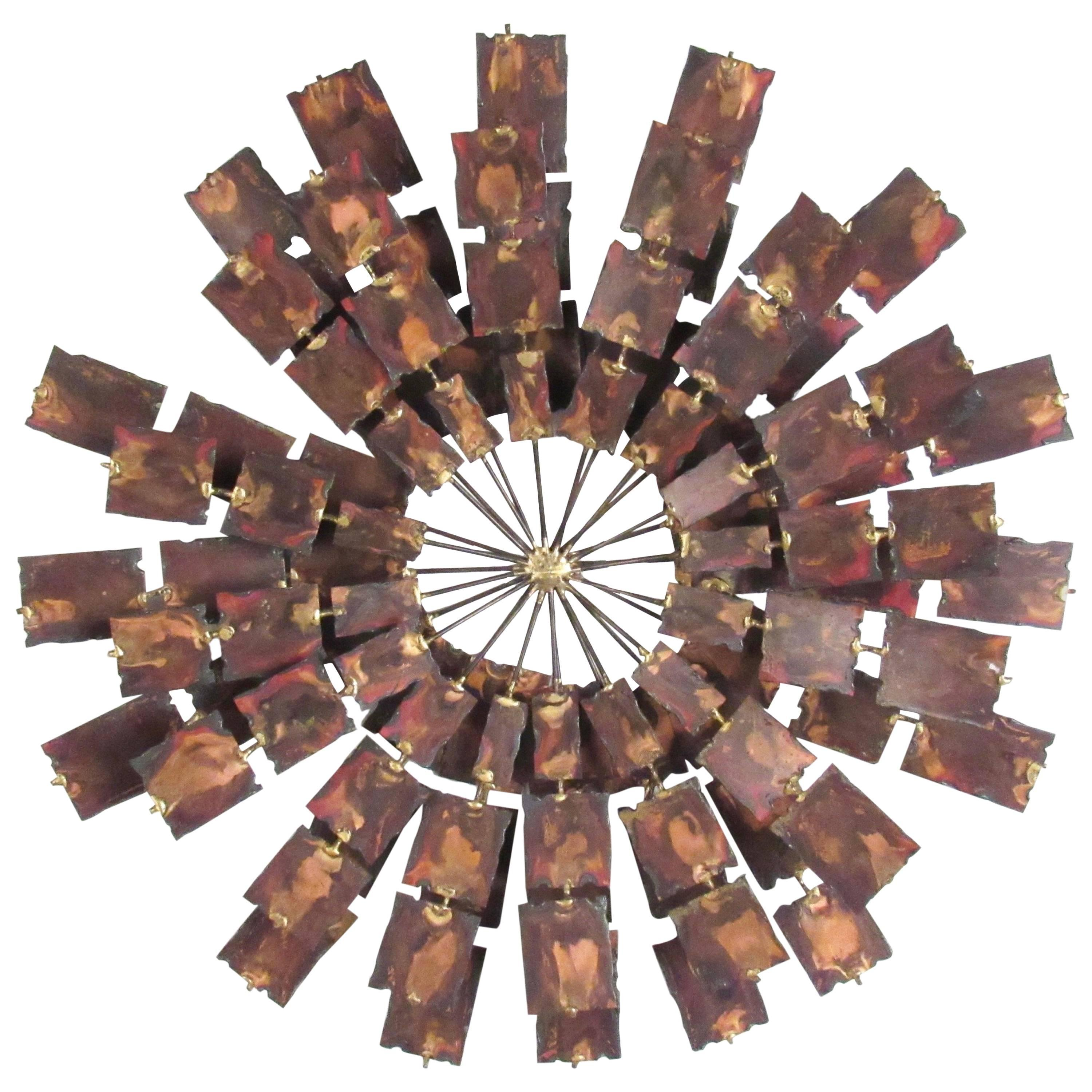 Stylish Curtis Jere Style Hammered Metal Wall Art
