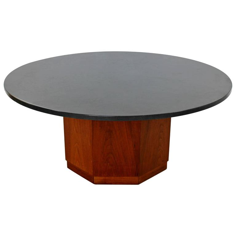 Mid Century Modern Fred Kemp Slate U0026 Octagon Walnut Base Coffee Table, 1960s