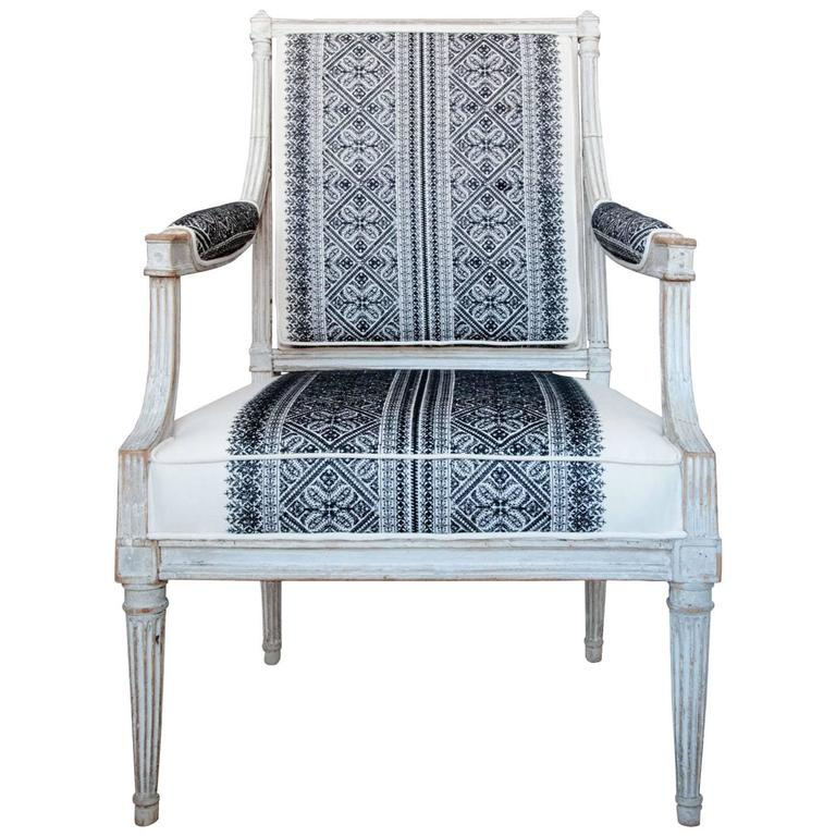 18th Century Jean Avisse Signed Hand-Carved Bergère French Armchair For Sale