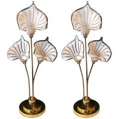 Pair of Italian Venetian / Murano Glass Style Lamps