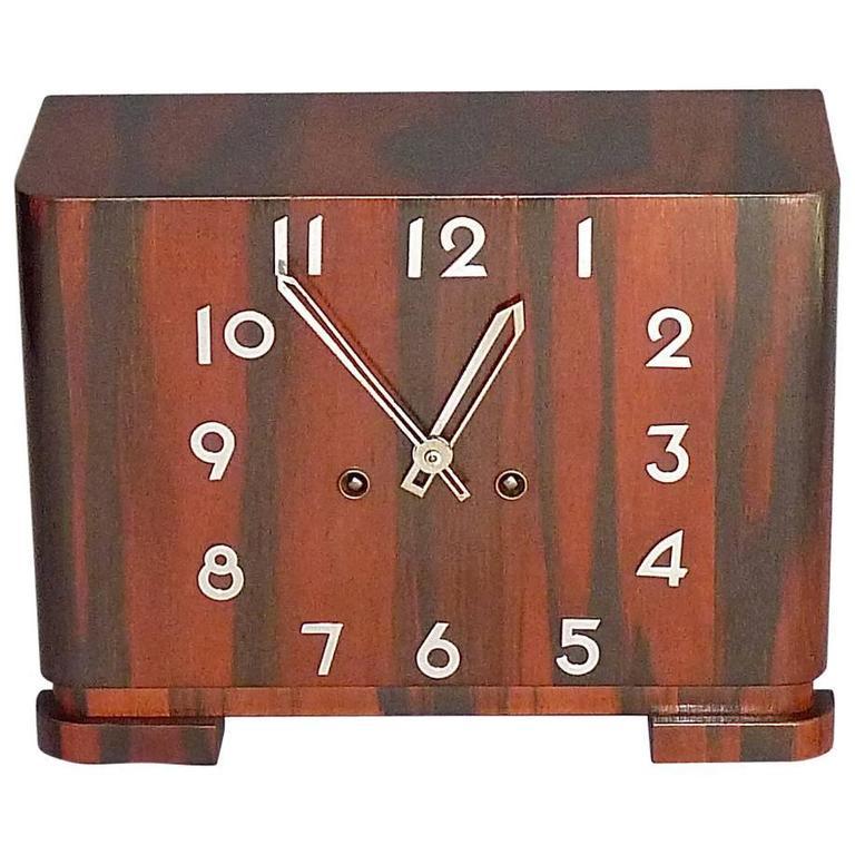 Great Art Deco Bauhaus Rosewood Chrome Mantle Desk Clock 1930 Kienzle Junghans For