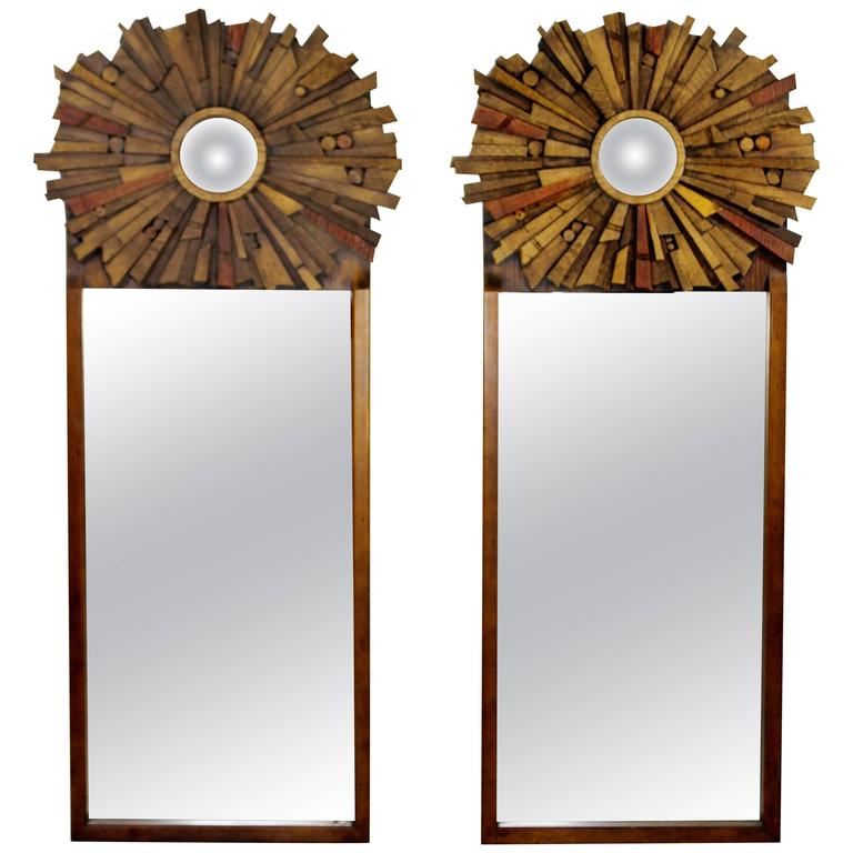 Mid century modern pair of lane brutalist wood mirrors for for Mid modern period