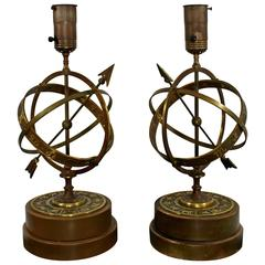 midcentury modern pair of frederick cooper armillary table lamps