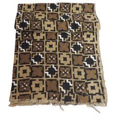 Vintage Graphic Bogolanfini African Mud Cloth Artisanal Panel