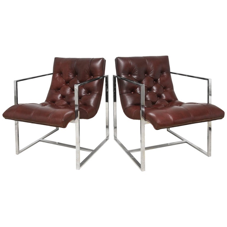 Pair of Milo Baughman Leather Tufted Cube Scoop Chrome Side Chairs For Sale