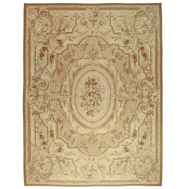 Vintage Chinese Aubusson Rug With French Provincial Style