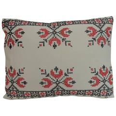 19th Century Cross-Stitch Red and Black German Embroidery Decorative Pillow