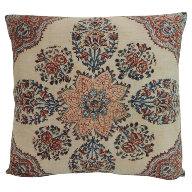 How To Make A Decorative Pillow By Hand : 19th Century Isfahan Kalam Hand-Blocked Floral Decorative Pillow For Sale at 1stdibs