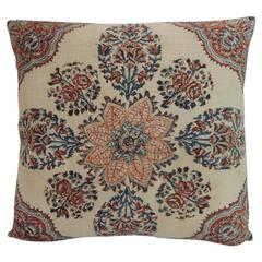 19th Century Isfahan Kalam Hand-Blocked Floral Decorative Pillow