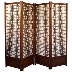 Mid-Century Modern Mahogany Geometric Folding Four-Panel Standing Screen, 1960s