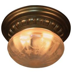 American Etched Glass Flush Mount Light Fixture