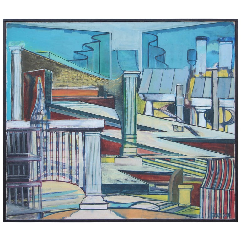 Louise Odes Neaderland Architectural Painting City, 1964 For Sale