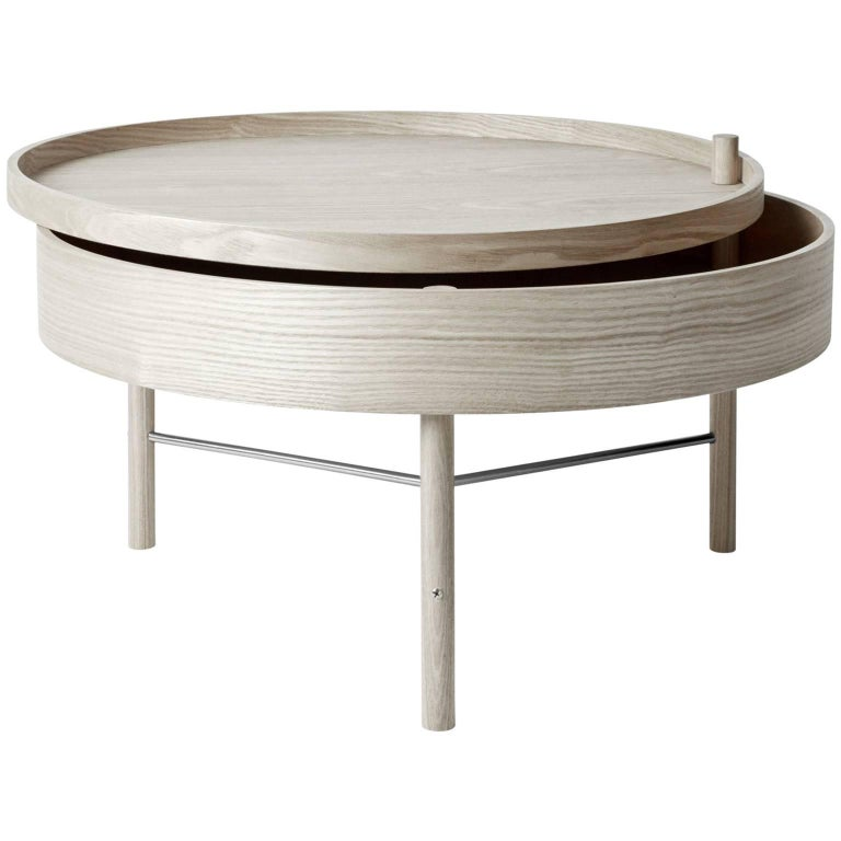 Turning Table by Theresa Arns, Coffee Table with Storage in Natural Oak & Chrome For Sale