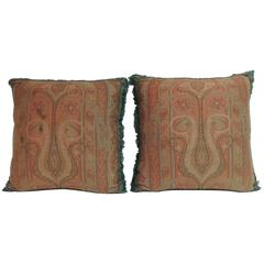 Pair of 19th Century Kashmir Woven Paisley Decorative Pillows