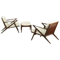 "Pair of Sculpted Teak Poul Jensen for Selig ""Z"" Lounge Chairs with Ottoman"