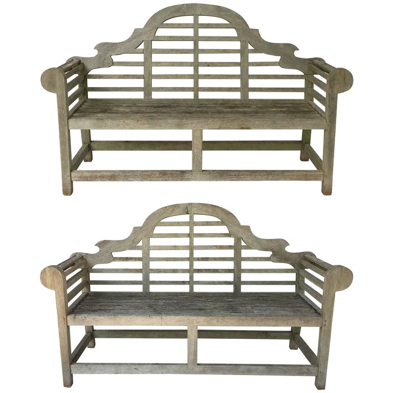 Pair of Lutyens Style Garden Bench Seats of Teak 1