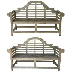 Pair of Lutyens Style Garden Bench Seats of Teak