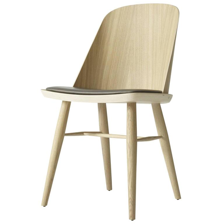 Synnes Dining Chair by Falke Svatun, Natural Oak / Brown Leather