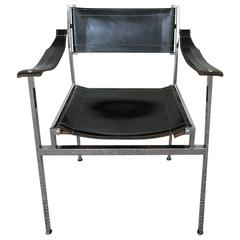 Modernist Chrome/Leather Sling Chair